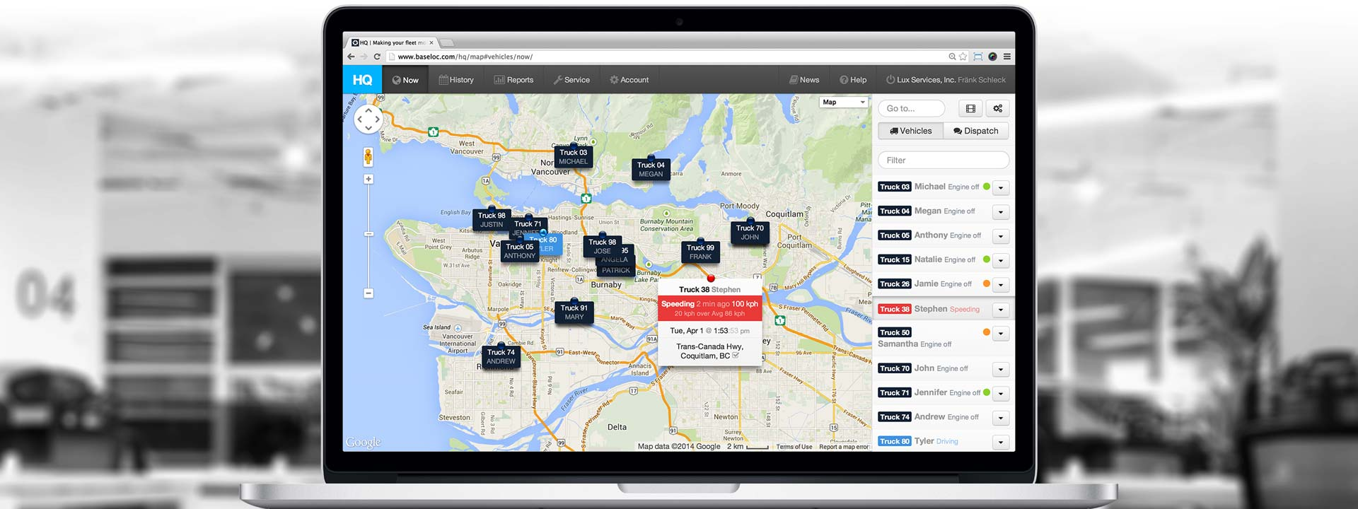 HQ real-time vehicle tracking
